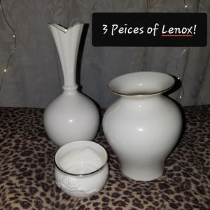 Lenox In Ivory 2 Vases and 1 Tealight Holder